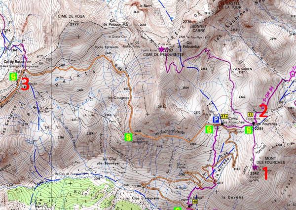 Mont et camp des fourches carte