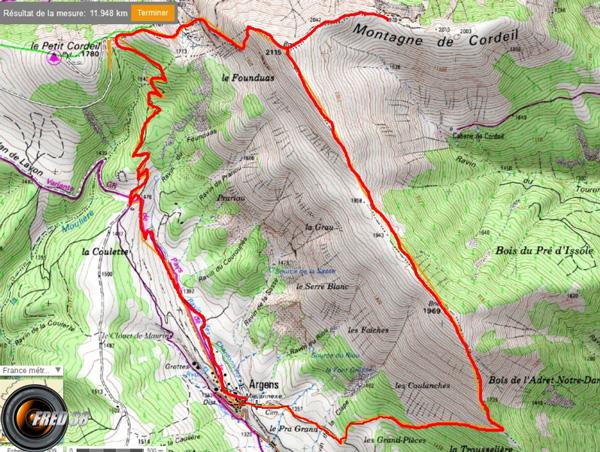 Montagne de cordeil carte