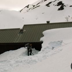 Le Refuge de Claran sous la neige,