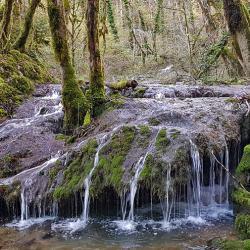 Traversée de la Fouge au dessus de la cascade.