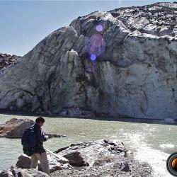 Le glacier plongeant dans le lac.