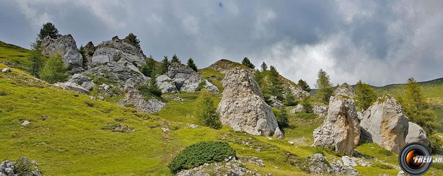 La zone de rochers érodés