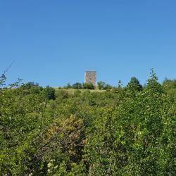Vue sur la tour, du sentier.