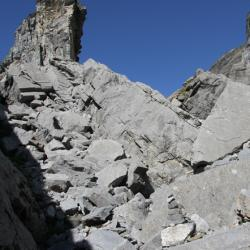Le chaos rocheux avant le passage du Dérochoir.
